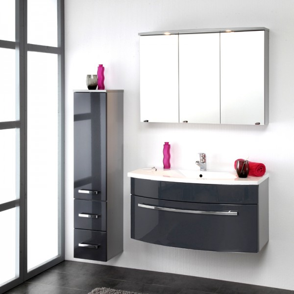 Badezimmer Set anthrazit Hochglanz 3teilig