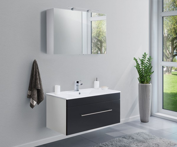 Badmöbel Set anthrazit Seidenglanz inklusive Waschbecken und Unterschrank 100 cm breit