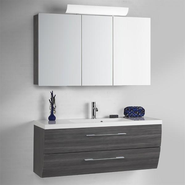 Badmöbel Set 120 cm mit Bad Spiegelschrank anthrazit