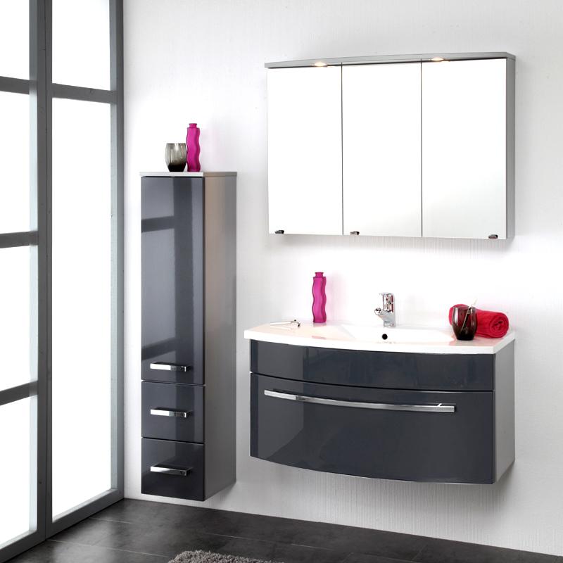 3 Teiliges Badezimmer Set Anthrazit Hochglanz Mit Waschtisch