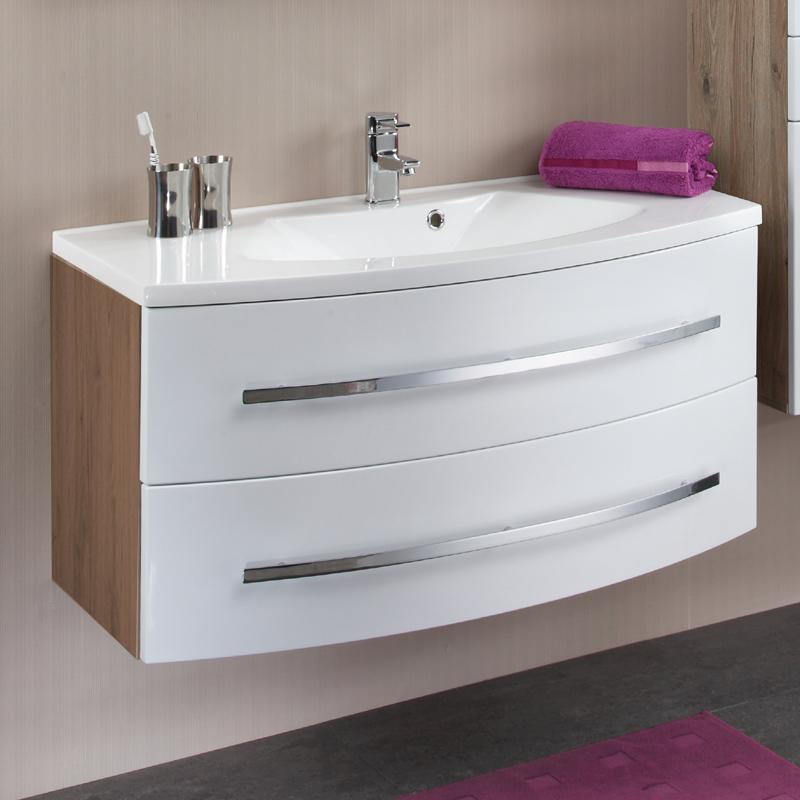 sch ner waschtisch mit unterschrank in hochglanz wei 100 cm. Black Bedroom Furniture Sets. Home Design Ideas