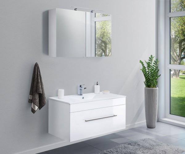 Badmöbel Set Hochglanz weiß mit Unterschrank inkl. Keramik Waschbecken sowie Unterschrank 100 cm