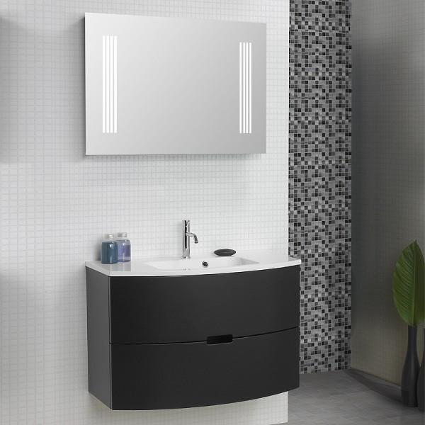 Badmöbel Set 90 cm mit Spiegelschrank doppelseitig verspiegelt
