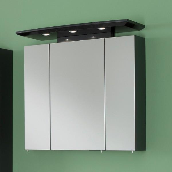 Badezimmer Spiegelschrank 80 cm Hochglanz anthrazit