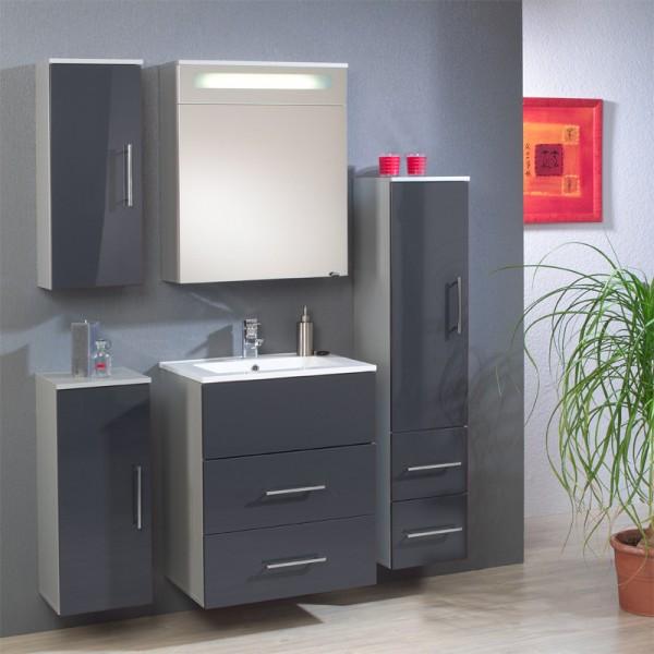 Badezimmer Set anthrazit Hochglanz