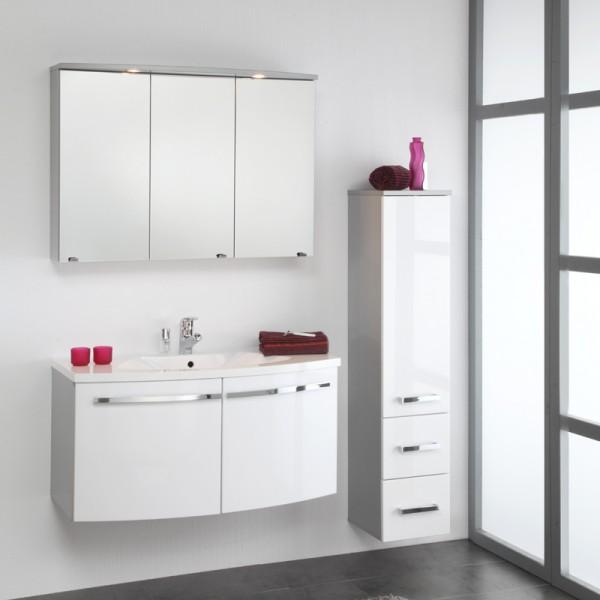 Schönes Badezimmer Set 3teilig mit Waschtisch und Spiegelschrank 100 cm