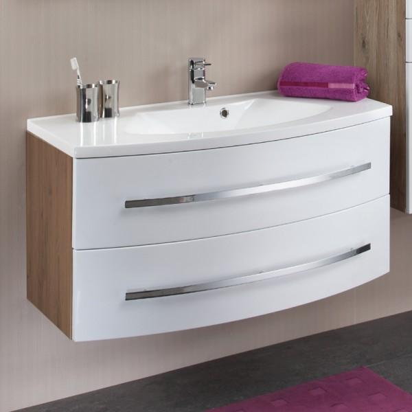 Waschtisch mit Unterschrank hochglanz weiß 100 cm